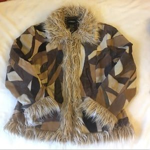 Vintage Leather Patchwork Faux Fur Coat